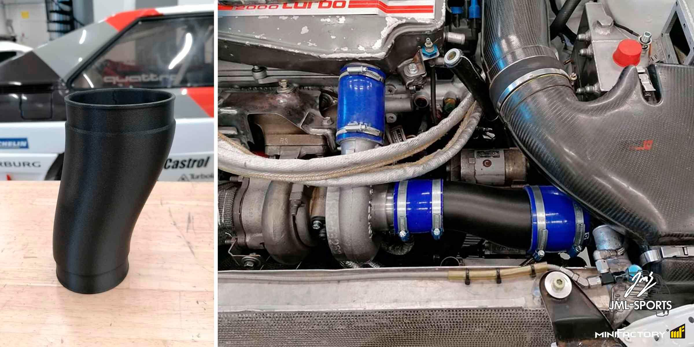 The properties of this turbo intake pipe were optimized before 3d printing.