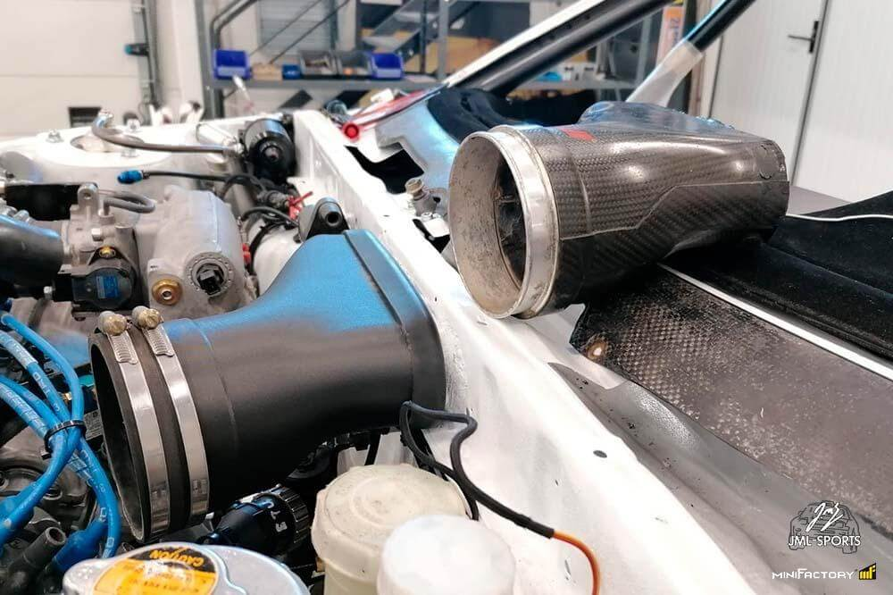 One piece of the air intake line has been replaced with 3D printed spare part